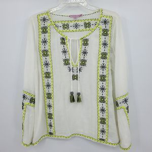 CALYPSO ST. BARTH embroidered peasant top